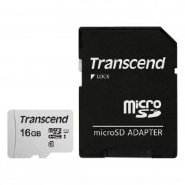 Carte microSD avec adaptateur carte SD Transcend - référence : TS16GUSD300S-A